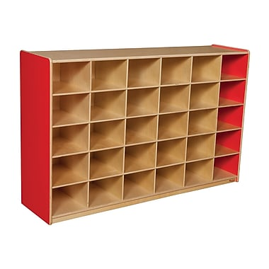 Wood Designs 30 Cubby Storage Cabinet Without Trays, Strawberry Red