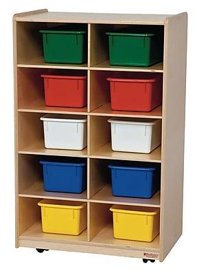 Wood Designs™ Vertical Storage With Ten Assorted Trays, Birch