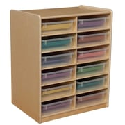 "Wood Designs 12 - 3"" Letter Tray Storage Unit With 12 Translucent Trays, Birch"