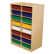 "Wood Designs 16 - 3"" Letter Tray Storage Unit With 16 Assorted Trays, Birch"