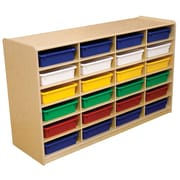 "Wood Designs 24 - 3"" Letter Tray Storage Unit With 24 Assorted Trays, Birch"