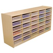 """Wood Designs 30 - 3"""" Letter Tray Storage Unit With 30 Translucent Trays, Birch"""
