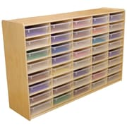 """Wood Designs 40 - 3"""" Letter Tray Storage Unit With 40 Translucent Trays, Birch"""