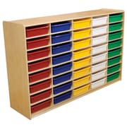 "Wood Designs 40 - 3"" Letter Tray Storage Unit With 40 Assorted Trays, Birch"