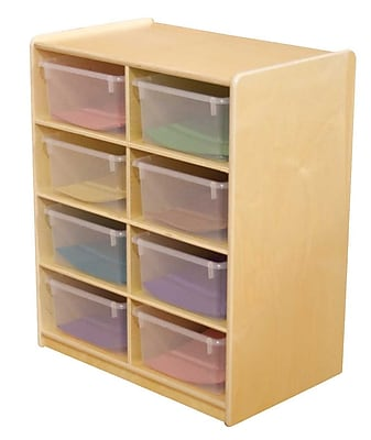 """""""""""Wood Designs 8 - 5"""""""""""""""" Letter Tray Storage Unit With 8 Translucent Trays, Birch"""""""""""" 508677"""