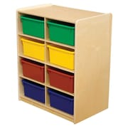 """Wood Designs™ 8 - 5"""" Letter Tray Storage Unit With 8 Assorted Trays, Birch"""