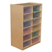 """Wood Designs 12 - 5"""" Letter Tray Storage Unit With 12 Translucent Trays, Birch"""