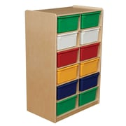"Wood Designs 12 - 5"" Letter Tray Storage Unit With 12 Assorted Trays, Birch"