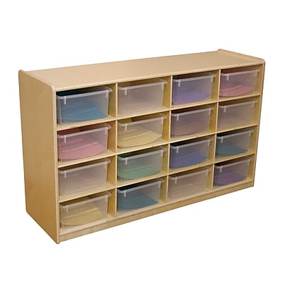 "Wood Designs 16 - 5"" Letter Tray Storage Unit With 16 Translucent Trays, Birch"