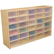 "Wood Designs 30 - 5"" Letter Tray Storage Unit With 30 Translucent Trays, Birch"