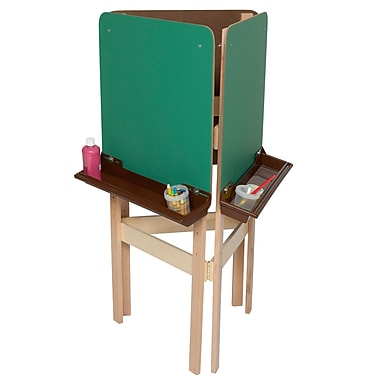 Wood Designs™ Art 3-Sided Adjustable Easel With Chalkboard and Brown Tray, Birch