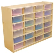 """Wood Designs 24 - 5"""" Letter Tray Storage Unit With 24 Translucent Trays, Birch"""