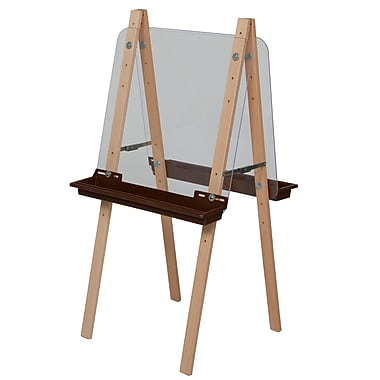 Wood Designs™ Art Double Easel With Acrylic 2 Sides and Brown Tray, Birch