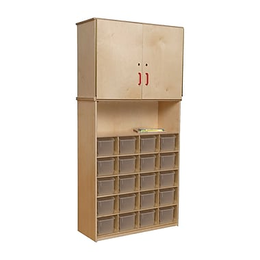 Wood Designs 20 Tray Vertical Storage Cabinet With 20 Translucent Trays, Birch