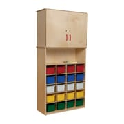 Wood Designs 20 Tray Vertical Storage Cabinet With 20 Assorted Trays, Birch