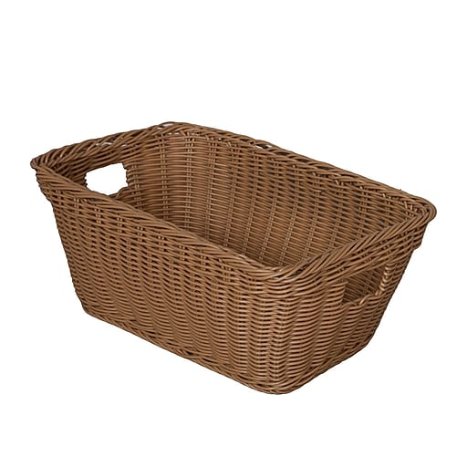Wood Designs Plastic Woven Wicker Baskets Natural Tan 10 Set Staples