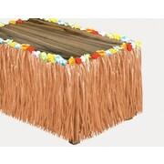 """Beistle® 9' x 30"""" Luau Flower Raffia Table Cover, Natural, Each"""