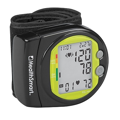 HealthSmart Wrist Blood Pressure Monitor, Sport Style, Digital One Touch Automatic with 2 Person Memory, Black