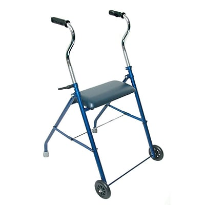 Briggs Healthcare Mabis Steel Walker with Wheels and Seat Blue