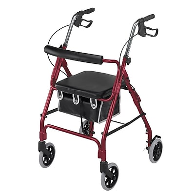 Briggs Healthcare Lightweight Aluminum Rollator Curved Backrest Burgundy