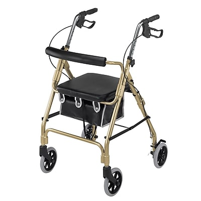 Briggs Healthcare Lightweight Aluminum Rollator Curved Backrest Gold