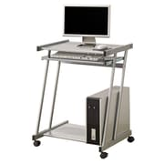 COASTER Computer Desk with Keyboard Tray and Casters, Silver (7173)