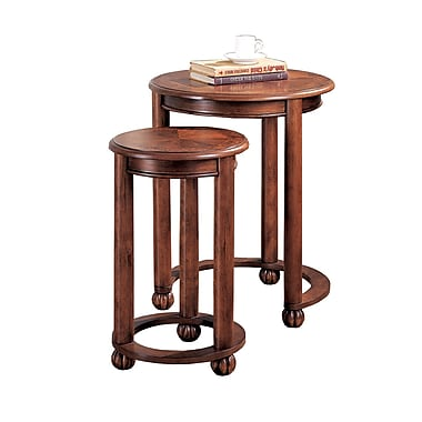 COASTER Nesting Table 2 Piece Round Nesting Tables Cherry