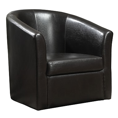 coaster vinyl swivel accent chair black