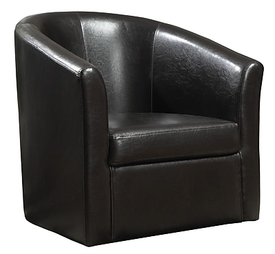 COASTER Vinyl Swivel Accent Chair, Black (902098)