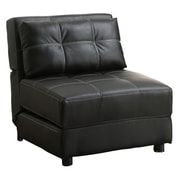 COASTER Accent Seating Faux Leather Lounge Chair/Sofa Bed, Black (300173)