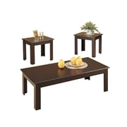COASTER Tables 3 Pieces Oak Veneer Parquet with 2 Occasional Set with Simple Wood Design