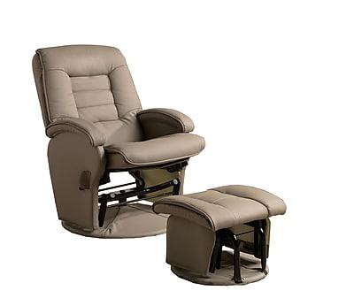 COASTER Vinyl Matching Ottoman Glider Chair, Beige