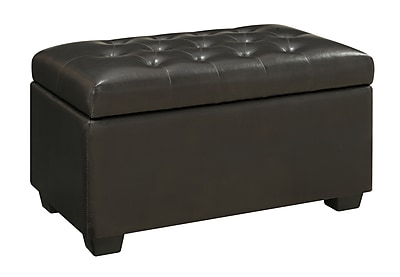 COASTER Vinyl Tufted Storage Ottoman Dark Brown