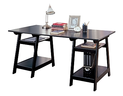 COASTER Double Pedestal Desk with Open Shelves, Black (800361)