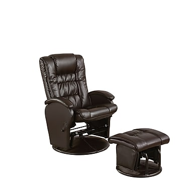COASTER Leather Casual Recliners with Matching Ottoman, Brown