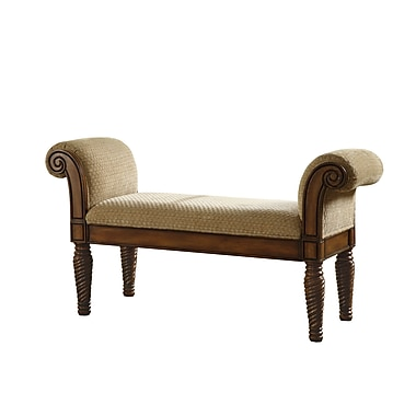 COASTER Upholstered Bench With Rolled Arms Traditional