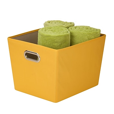 Honey Can Do® - Bac de rangement décoratif moyen avec poignées, jaune