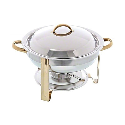 Update International DC-4/GB, 4 Qt Stainless Steel Round Gold-Accented Chafer