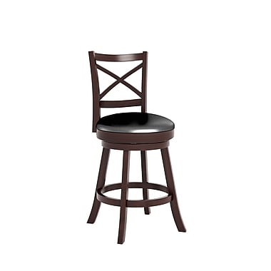 CorLiving™ Woodgrove Cross Back Wooden Barstools, Espresso Black Leatherette