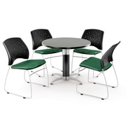 "OFM™ 36"" Round Multi-Purpose Gray Nebula Table With 4 Chairs, Shamrock Green"