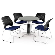 """OFM™ 36"""" Round Multi-Purpose Gray Nebula Table With 4 Chairs, Navy"""