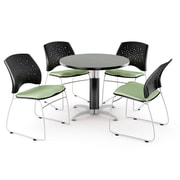 "OFM™ 36"" Round Multi-Purpose Gray Nebula Table With 4 Chairs, Sage Green"