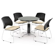 "OFM™ 36"" Round Multi-Purpose Gray Nebula Table With 4 Chairs, Khaki"