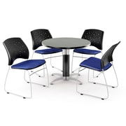 "OFM™ 36"" Round Multi-Purpose Gray Nebula Table With 4 Chairs, Royal Blue"