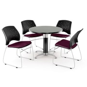 """OFM™ 36"""" Round Multi-Purpose Gray Nebula Table With 4 Chairs, Burgundy"""