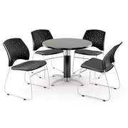 """OFM™ 42"""" Round Multi-Purpose Gray Nebula Table With 4 Chairs, Slate Gray"""