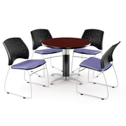 """OFM™ 36"""" Round Multi-Purpose Mahogany Table with 4 Chairs, Lavender"""