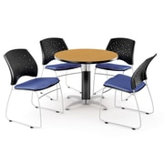 """OFM™ 36"""" Round Multi-Purpose Laminate Oak Table With 4 Chairs, Colonial Blue"""