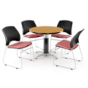 """OFM™ 36"""" Round Multi-Purpose Laminate Oak Table With 4 Chairs, Coral Pink"""