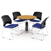 """OFM™ 36"""" Round Multi-Purpose Laminate Oak Table With 4 Chairs, Royal Blue"""